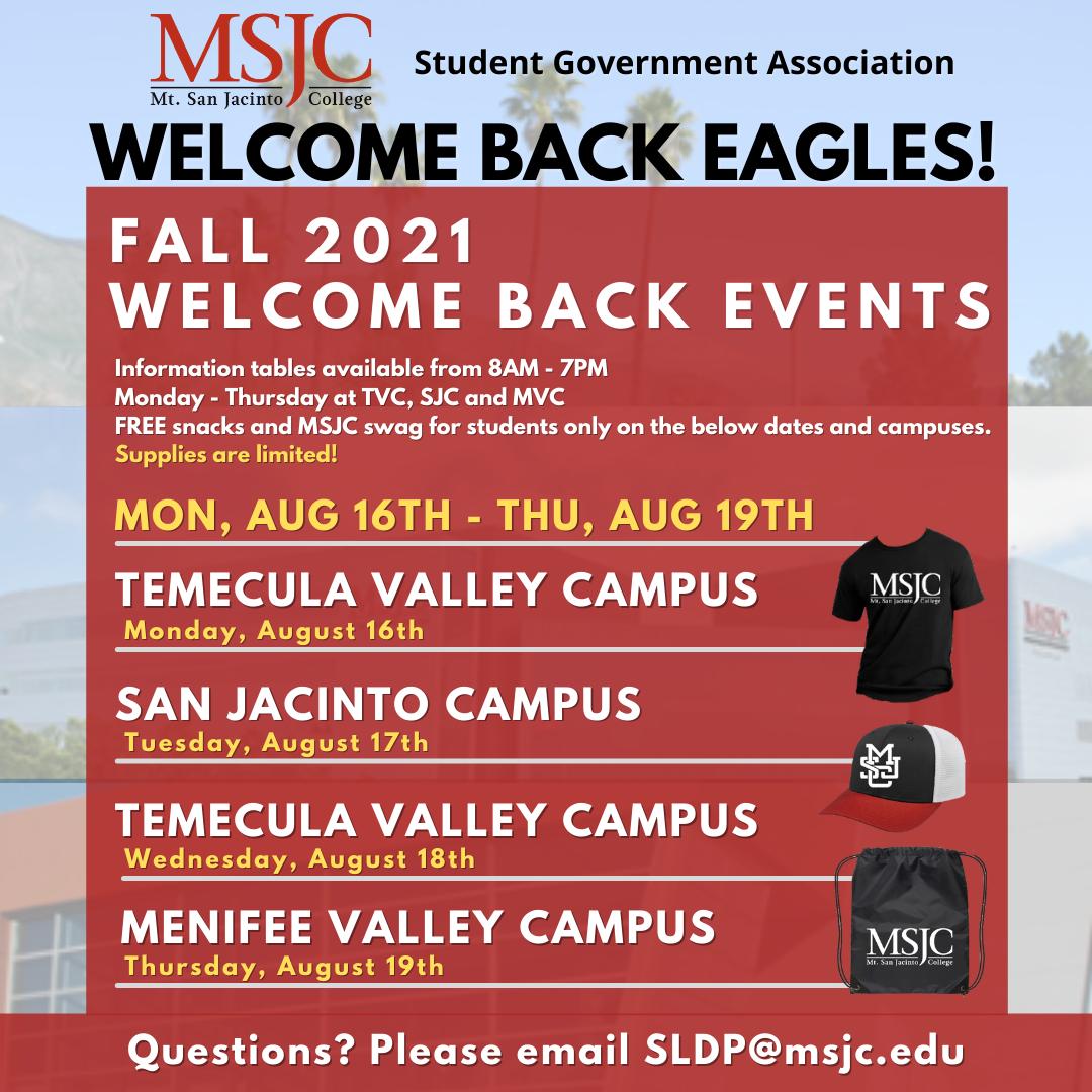 MSJC to Celebrate Welcome Week Aug 16-19