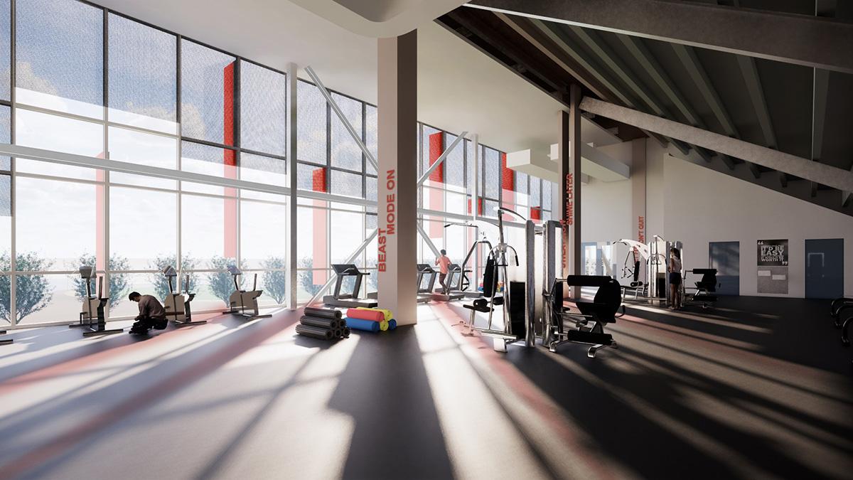 artist's rendering, fitness center