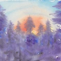Purple Pines Watercolor