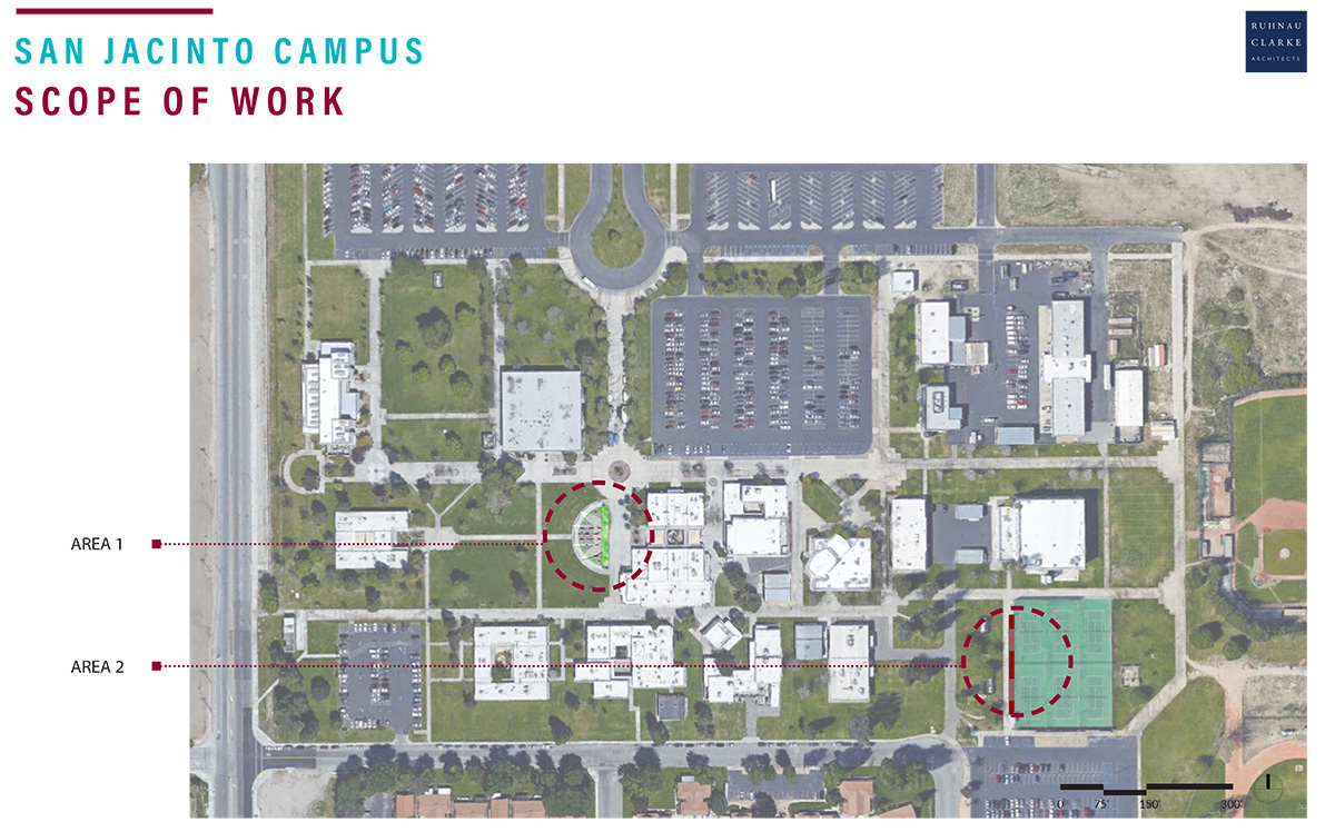 campus map showing placement of shade structures in the quad and near the tennis courts