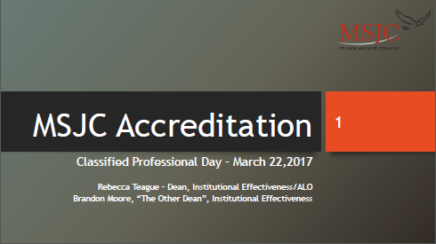 Accreditation Classified Professional Day, March 22, 2017