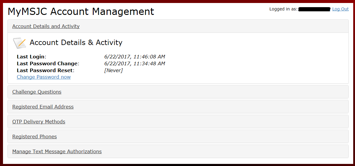 MyMSJC Account Management screen