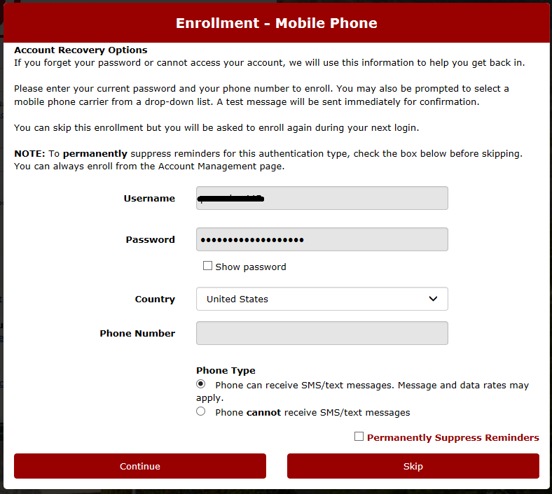 mobile phone account recovery options screen