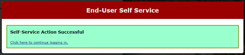 end-user self service, continue to login screen