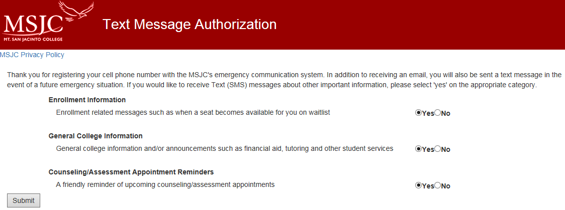sms/text message authorization screen
