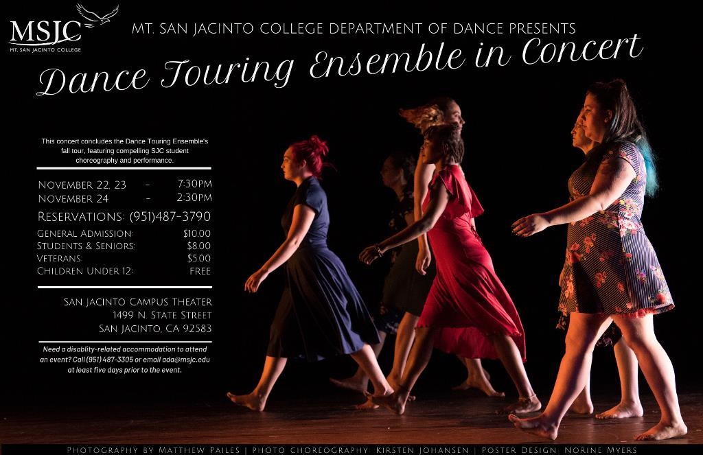 MSJC Hosts Dance Touring Ensemble in Concert Nov. 22-24