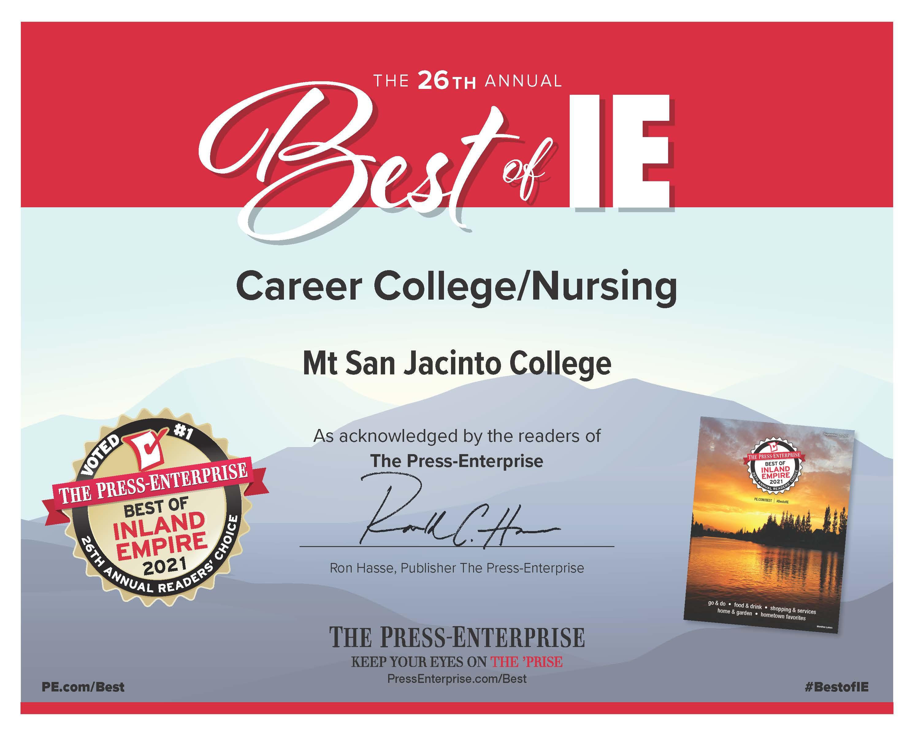 MSJC's Nursing Program Named #1 in the Inland Empire